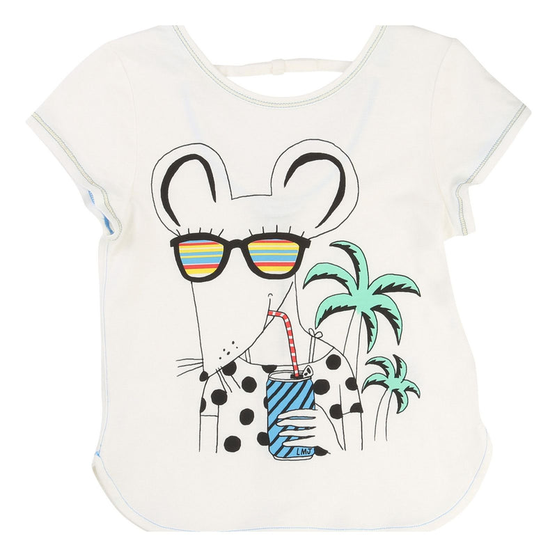 Girls Ivory Mouse Printed Trims T-Shirt - CÉMAROSE | Children's Fashion Store