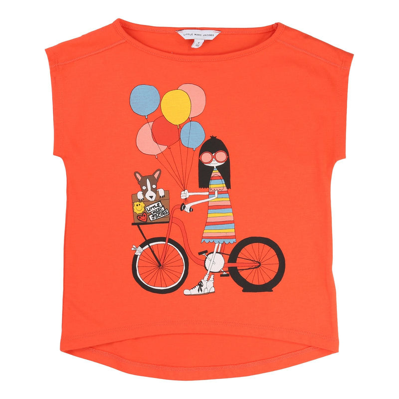 Girls Red 'Mrs Marc' Printed Jersey T-Shirt - CÉMAROSE | Children's Fashion Store