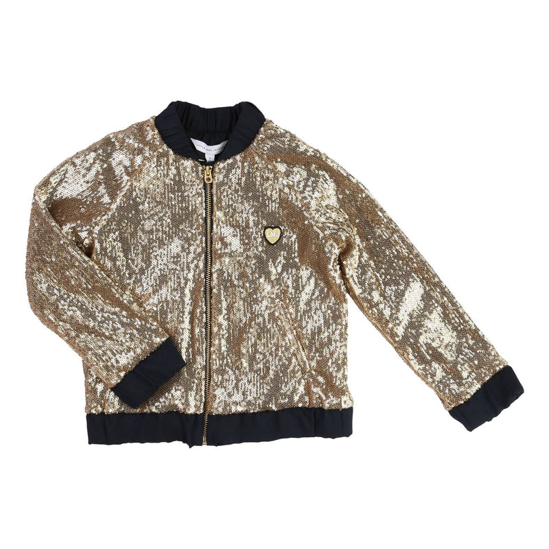 Girls Gold Ribbed Cuffs Jacket With Patch Brand Logo - CÉMAROSE | Children's Fashion Store