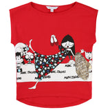 Girls Red Cotton Modal T-shirt - CÉMAROSE | Children's Fashion Store - 1