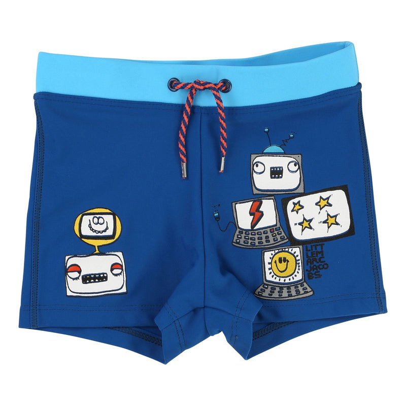 Boys Royal Blue Cotton Fancy Printed Trims Swim Shorts - CÉMAROSE | Children's Fashion Store