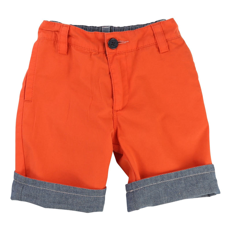 Boys Red Turn Cuffs Reversibe Shorts - CÉMAROSE | Children's Fashion Store