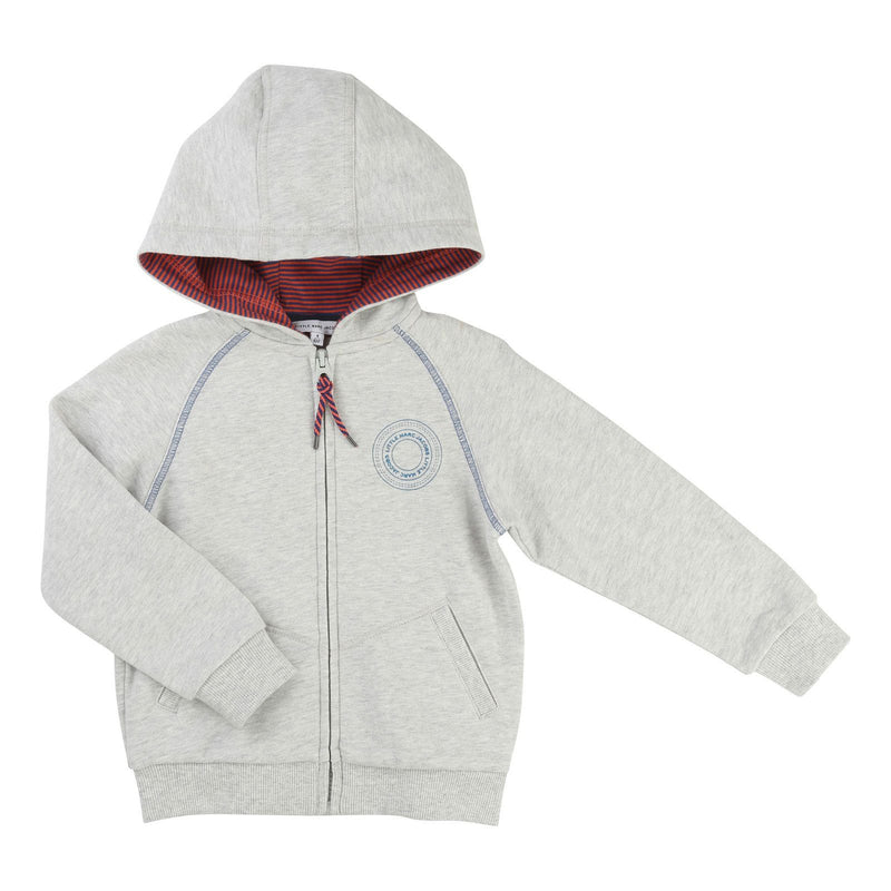 Boys Grey Hooded Zip-Up Tops With Patch Brand Logo - CÉMAROSE | Children's Fashion Store