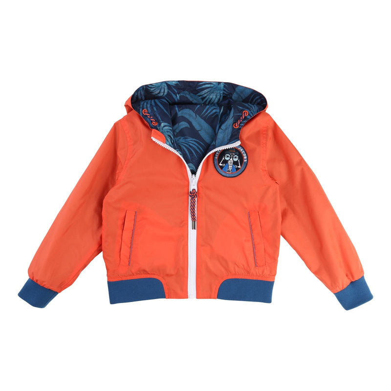 Boys Red&Blue Printed Reversibe Zip-up Hooded Jacket - CÉMAROSE | Children's Fashion Store - 1