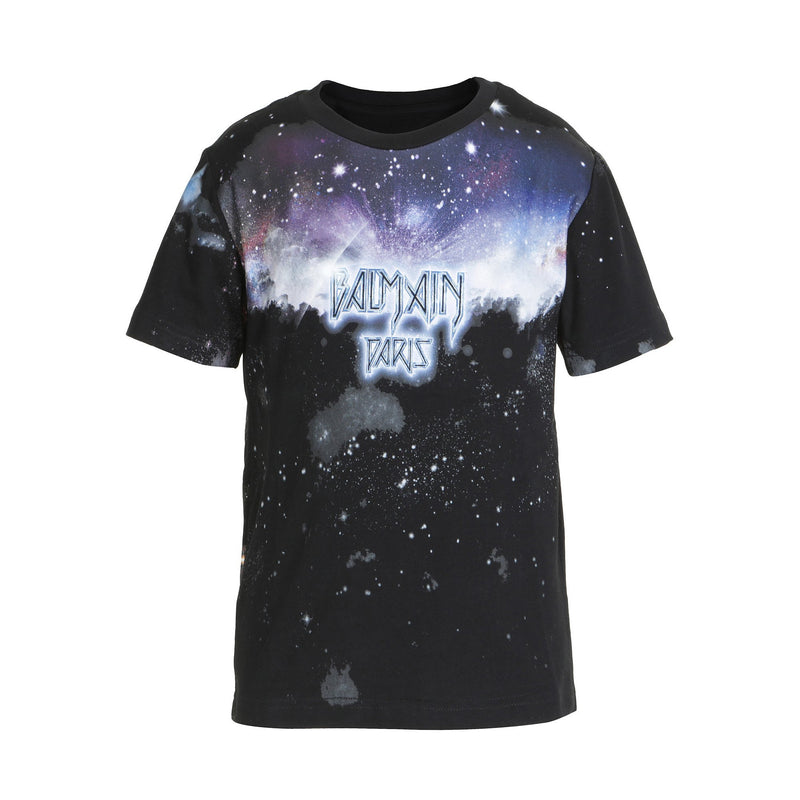 Boys Black Starry Sky Cotton T-shirt
