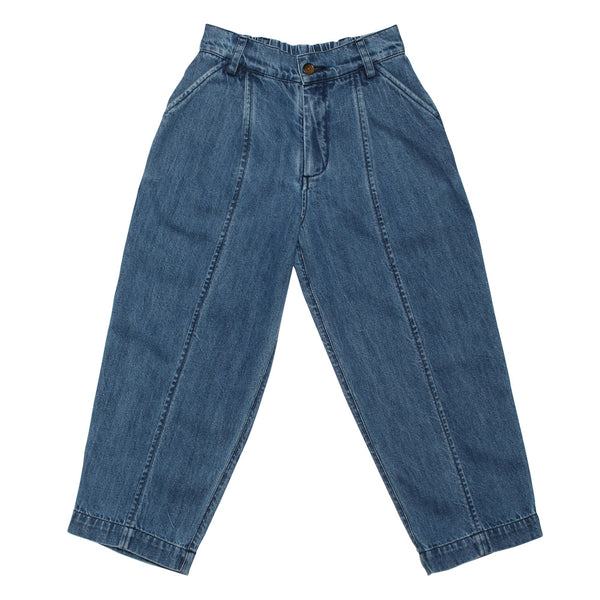 Boys & Girls Blue Tapered Wide Denim Trousers