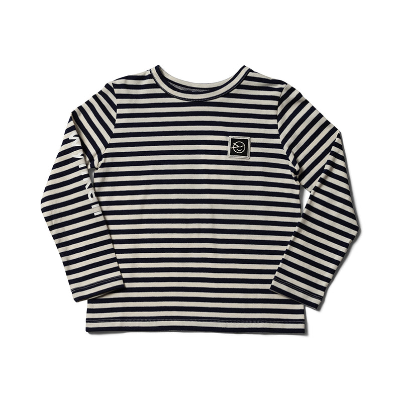 Boys & Girls Navy/Ecru Stripe Organic Cotton T-Shirt