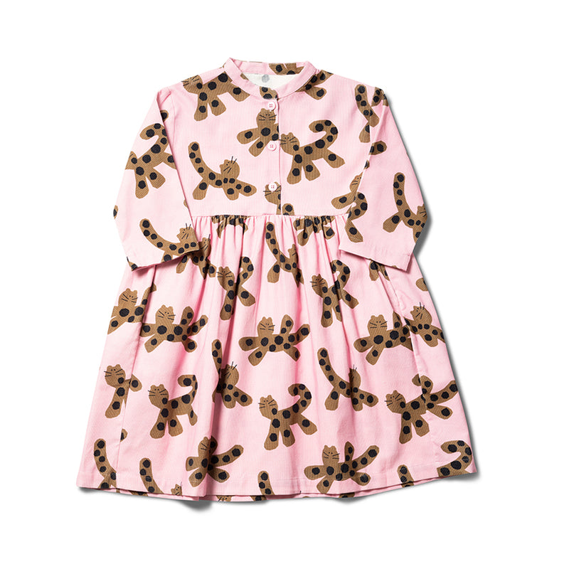 Girls Mallow Pink Parti Animals Cotton Dress