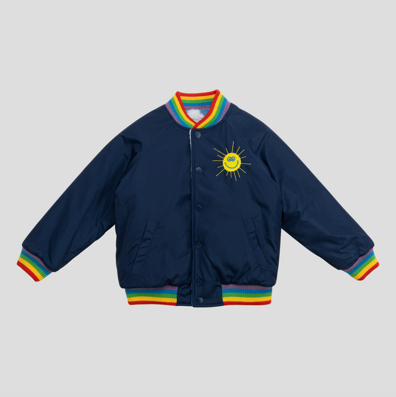 Boys Navy Teddy Bear Clouds Jacket