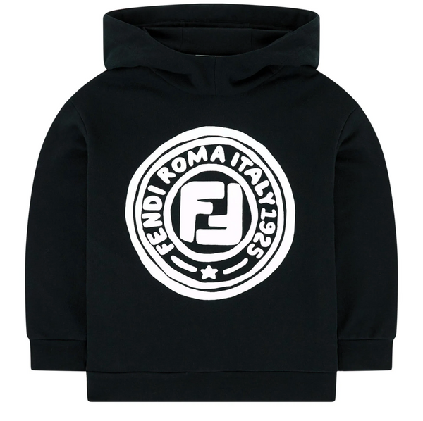 Boys & Girls Black FF Cotton Hoodie