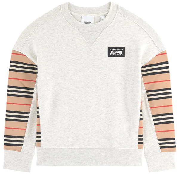 Boys & Girls White Melange Cotton Sweatshirt