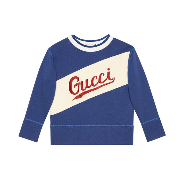 Girls Blue Indigo Cotton Sweatshirt