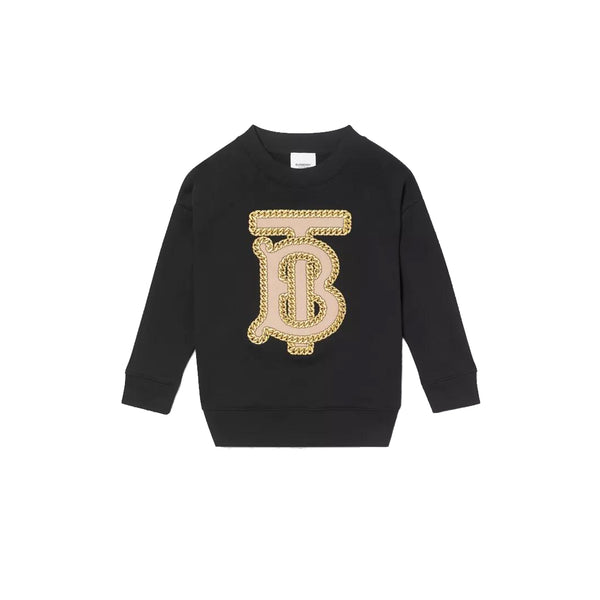 Girls Black Logo Cotton Sweatshirt