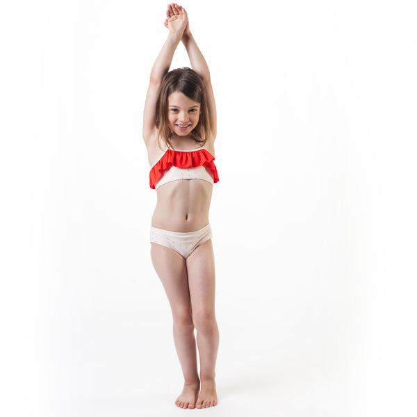 Girls Red & Rice Swimsuit