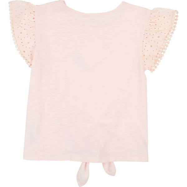 Girls Light Pink Cotton T-shirt