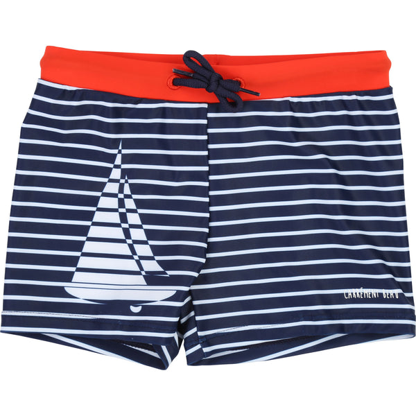 Boys Blue & White Striped Swimming Shorts