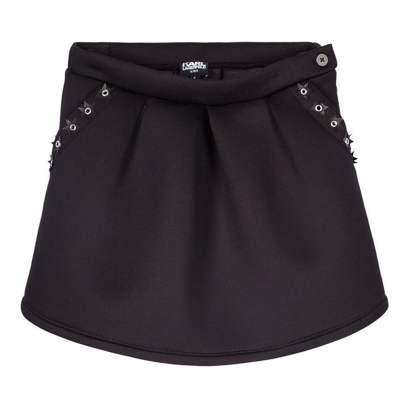 Girls Black Skirt With Patch Star Trims Pockets - CÉMAROSE | Children's Fashion Store
