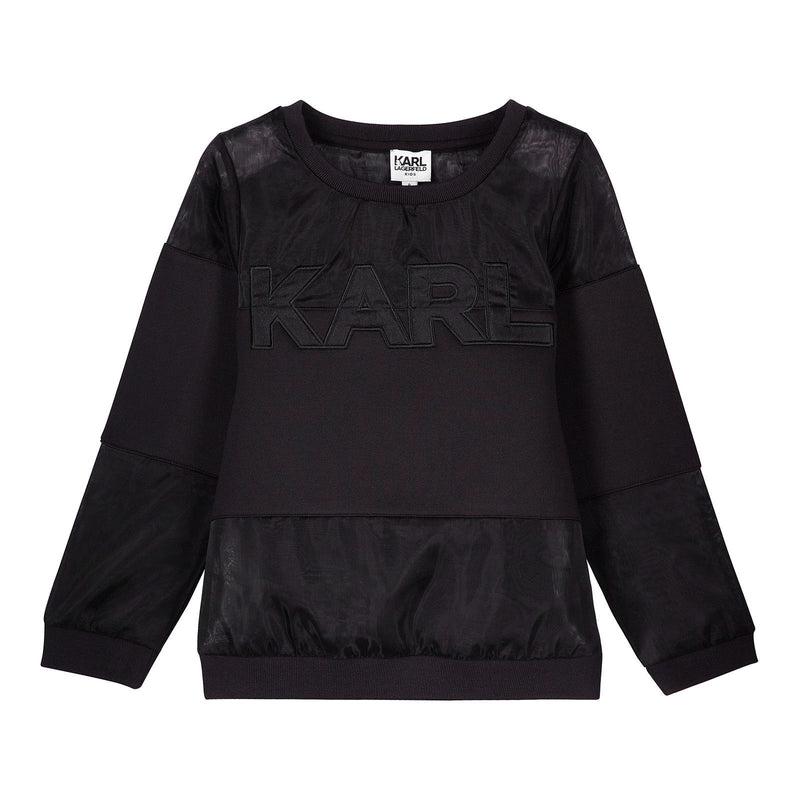 Girls Black Sweatshirt With 'KARL' Print - CÉMAROSE | Children's Fashion Store