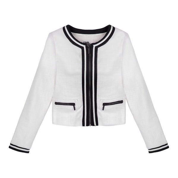 Girls White Cotton Zip-up Jacket - CÉMAROSE | Children's Fashion Store - 1