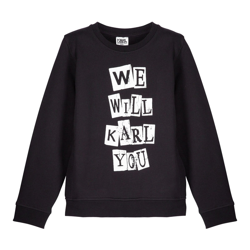 Boys Black Cotton Sweatshirt With 'We Will Karl You' Print - CÉMAROSE | Children's Fashion Store