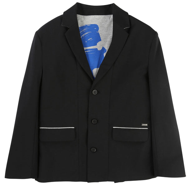 Boys Black Ribbed Cuffs Blazer - CÉMAROSE | Children's Fashion Store - 1