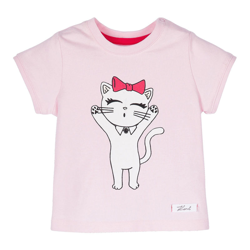 Baby Pink Cat Printed Cotton T-Shirt - CÉMAROSE | Children's Fashion Store