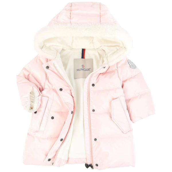 Baby Girls Bright Pink Padded Down Long Parka Coat