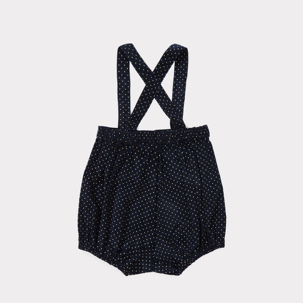 Baby Navy Babycord Dot Cotton Woven Romper