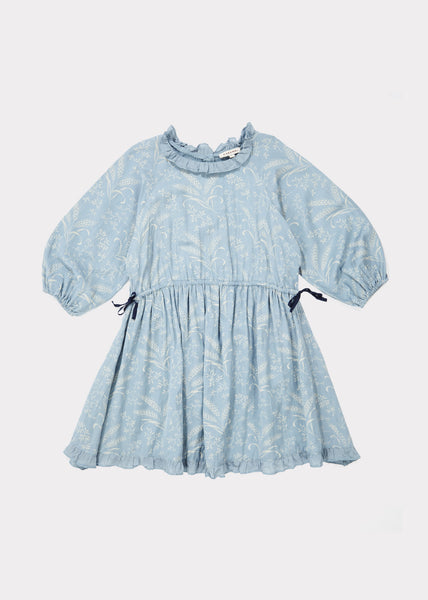Girls Blue Printed Dress