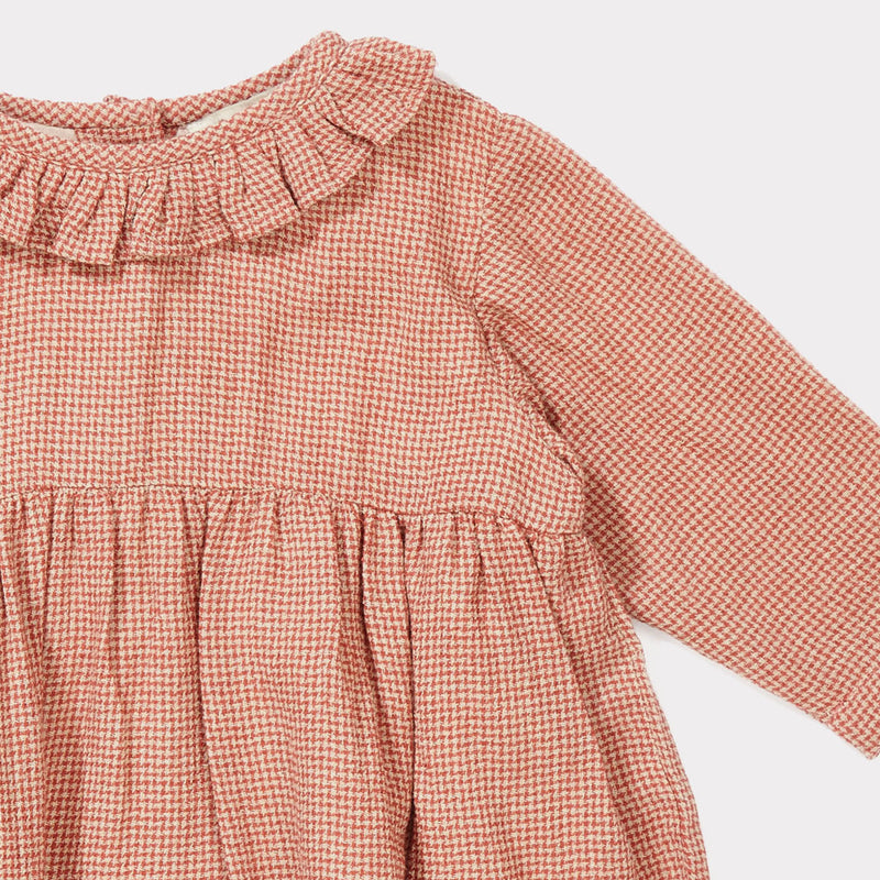 Baby Girls Peach Mirco Houndstooth Woven Dress