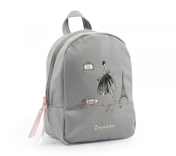 Girls Grey Printed Backpack