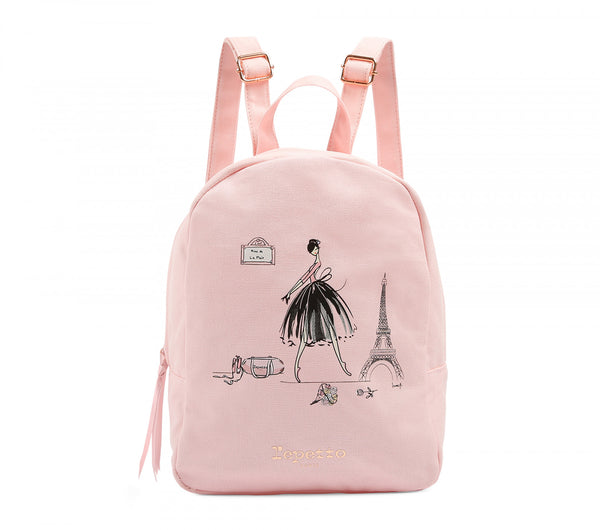 Girls Light Pink Printed Backpack