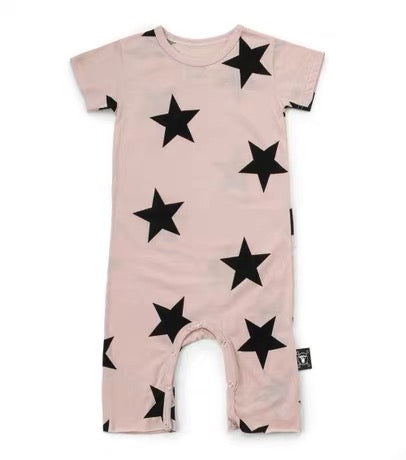 Baby Girls Pink Star Cotton Playsuit