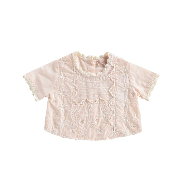 Girls Light Blush Cotton Blouse