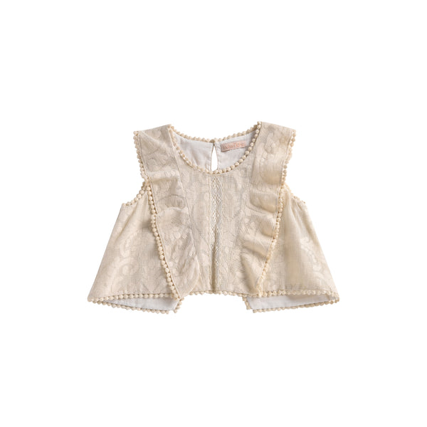 Girls Cream Baroque Lace Cotton Top