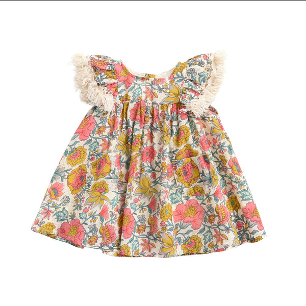 Girls Multi Flowers Cotton Dress
