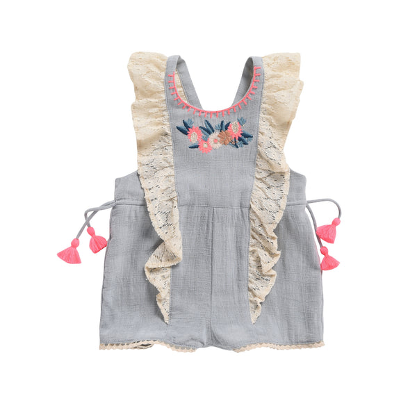 Baby Girls Silver Cloud Cotton Overalls