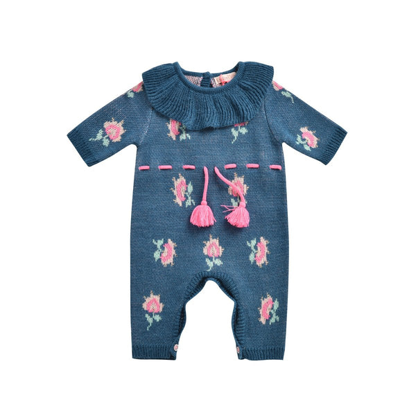 Baby Girls Lake Blue Embroidered Babysuit