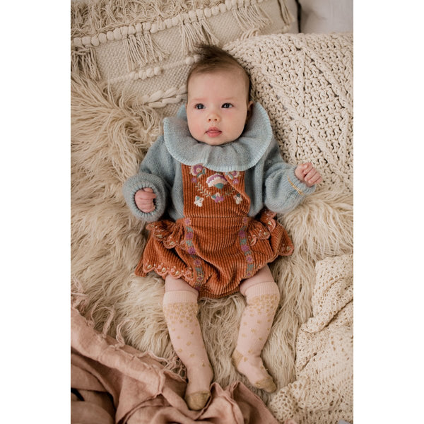 Baby Girls Terracotta Embroidered Cotton Rompers