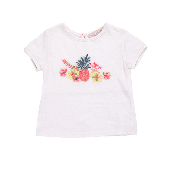 Girls White Embroidered T-shirt