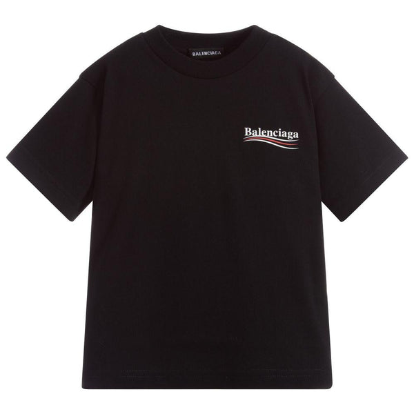 Boys & Girls Black Logo Cotton T-Shirt