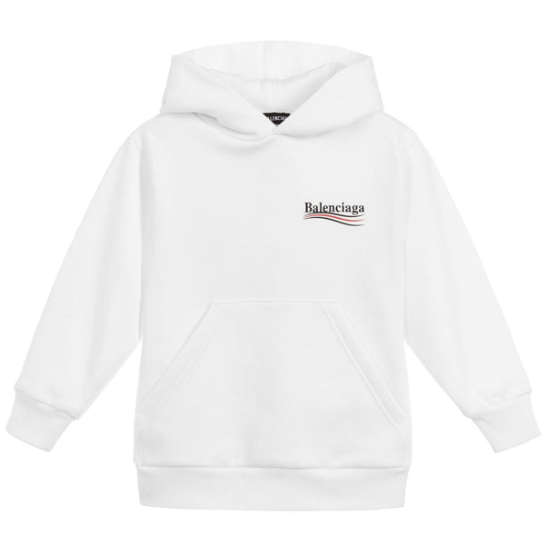 Boys & Girls White Logo Cotton Hoodie