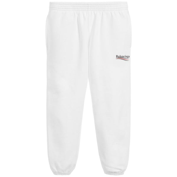 Boys & Girls White Logo Cotton Jogging Pants