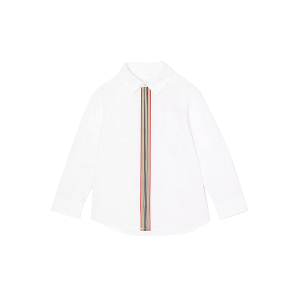 Boys & Girls White Stripe Cotton Shirt