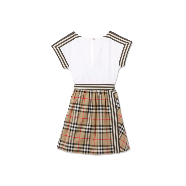 Girls Beige & White Check Cotton Dress
