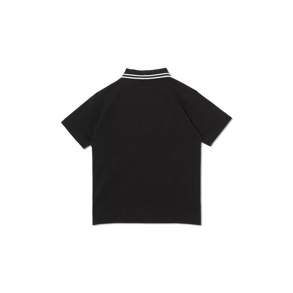 Boys Black Cotton Polo Shirt
