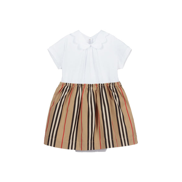 Baby Girls White Striped Cotton Dress
