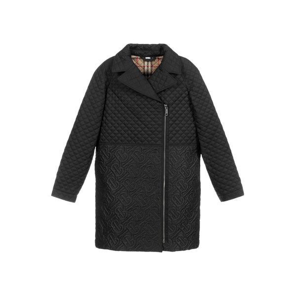 Girls Black Logo Coat