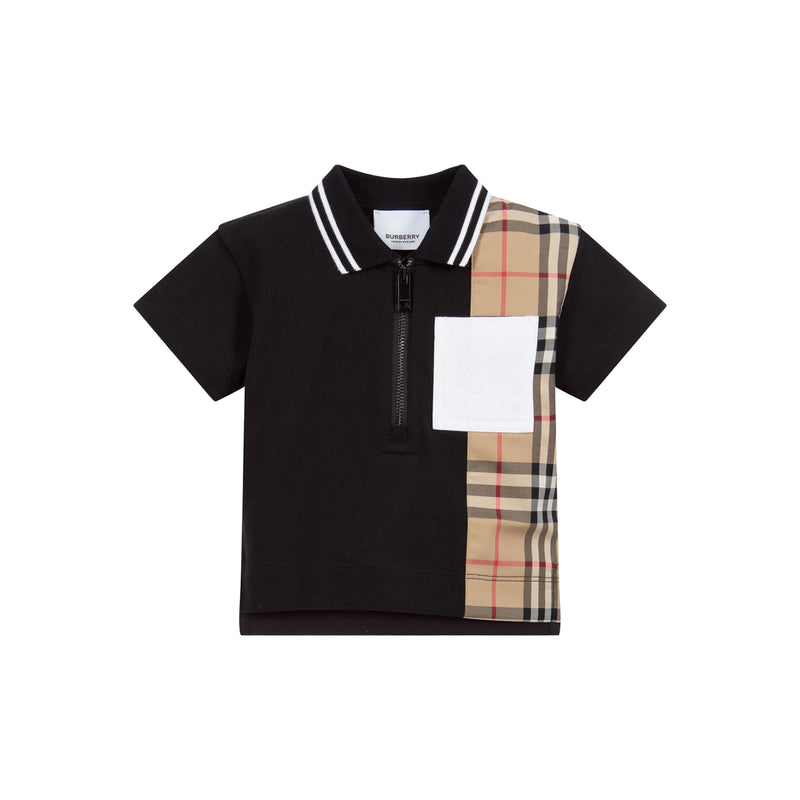Baby Boys Black Cotton Polo Shirt