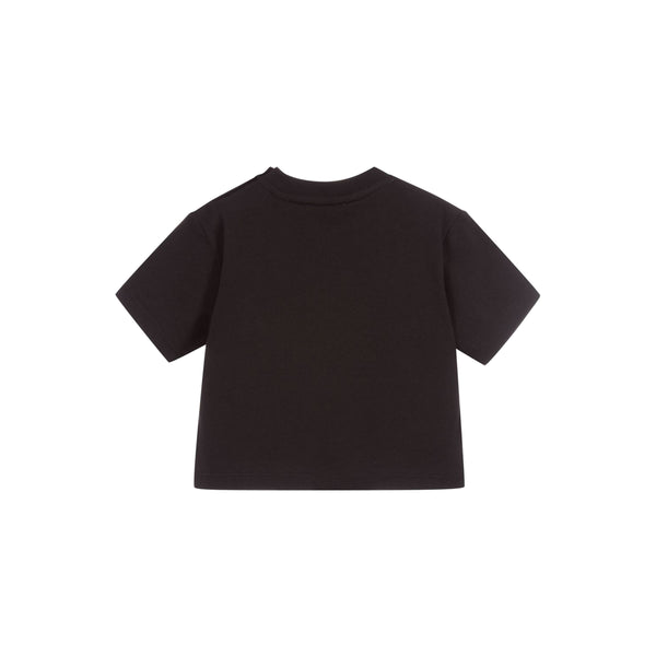 Baby Boys & Girls Black Logo Cotton T-Shirt